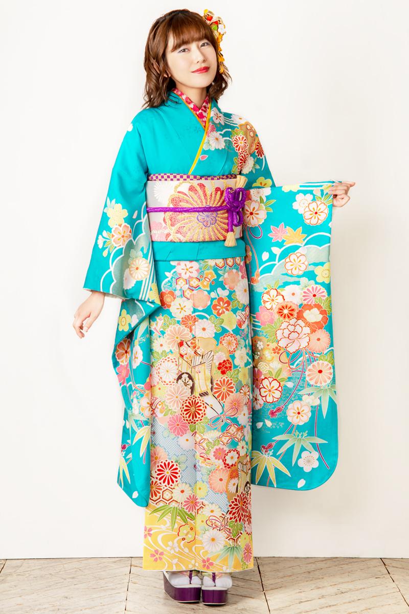 【MK-702】鮮やか空色に金彩雪輪と古典四季花