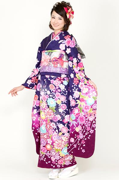 【No.MK-2615】★紺紫地にカラフルな花尽くし振袖