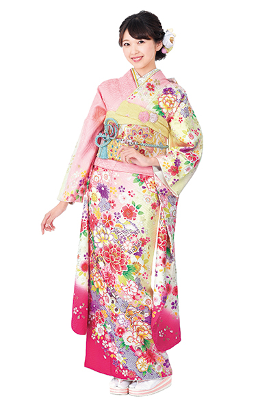 【MKK-2910】★ピンクとクリーム地に雪輪花柄振袖