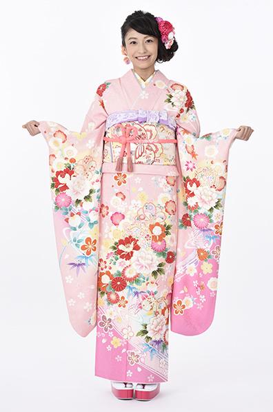 【MKK-2912】★ピンク地に和花と流水柄振袖