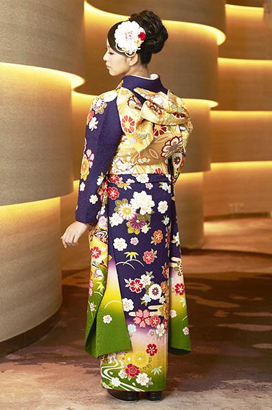 【MK-708】紺紫×イエローグリーン地に毬花柄振袖