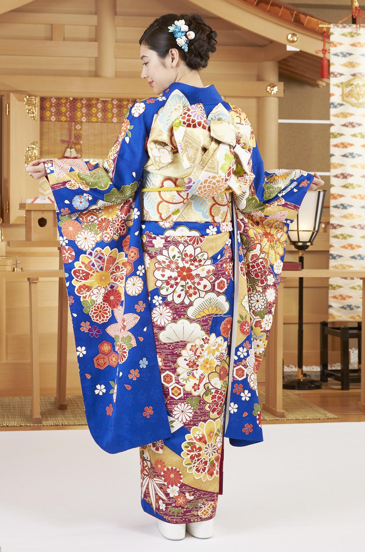 【MK-1005】瑠璃色 手毬に花文様