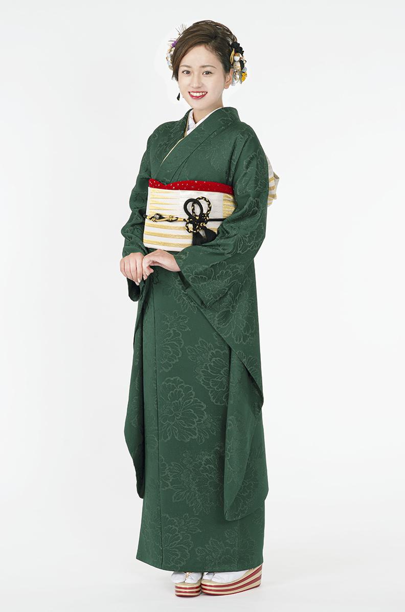 【MUJI-02】深碧色無地振袖