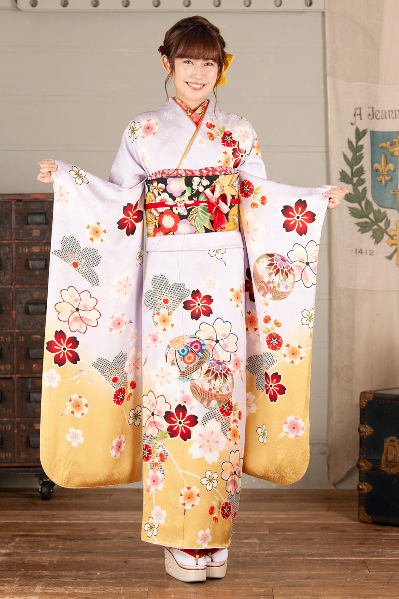 【MKK-607】薄藤色に毬と桜柄振袖