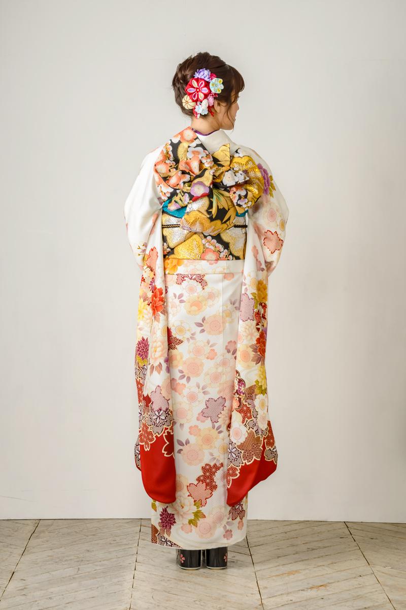 【MK-801】紅白地に大輪牡丹と桜