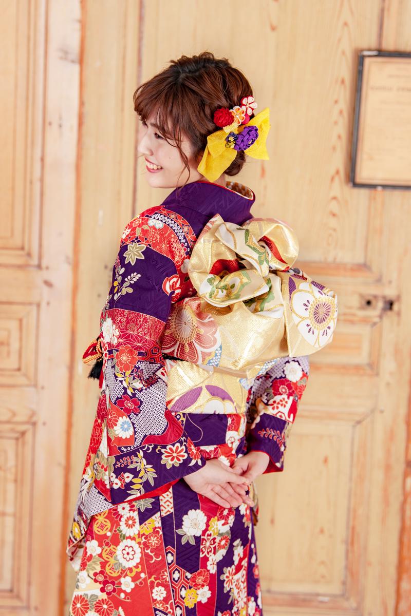 【MK-28017】★上品な貝紫地に百花柄振袖